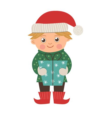 happy boy with golden hair holding a present. Cute winter elf like kid illustration isolated on white background. Funny flat style picture for Christmas, New Year or winter design