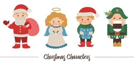 set of Christmas characters. Cute winter Santa Claus with sack, Angel, Elf, Nutcracker illustration isolated on white background. Funny flat style picture for New Year or winter design