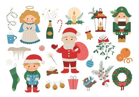 Vector set of Christmas elements with Santa Claus in red hat with sack, angel, nutcracker, elf isolated on white background. Cute funny flat style illustration for decorations or new year design.  Иллюстрация