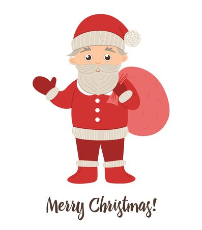 Santa Claus waving his hand with red sack. Cute winter Father Frost illustration isolated on white background. Funny flat style character for Christmas, New Year or winter design