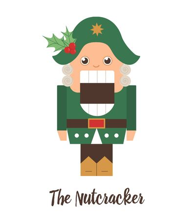 Vector Nutcracker with holly on his hat. Cute winter fairytale illustration isolated on white background. Funny flat style character for Christmas, New Year or winter design