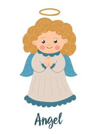 Angel with curly golden hair and halo. Cute winter saint character illustration isolated on white background. Funny flat style picture for Christmas, New Year or winter design
