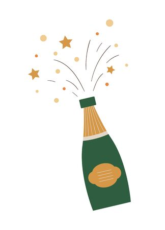 Vector opened champagne with bursts and splashes isolated on white background. Cute funny illustration of new year symbol. Christmas flat style picture of traditional fizzy drink for decorations or design.