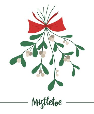 mistletoe with red bow hung upside down isolated on white background. Cute funny illustration of new year symbol. Christmas flat style traditional plant picture for decorations or design.