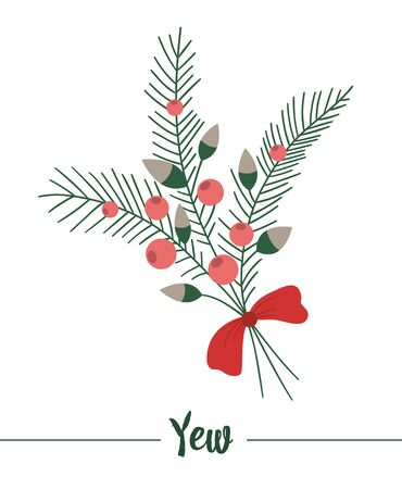 yew with red bow isolated on white background. Cute funny illustration of new year symbol. Christmas flat style traditional plant picture for decorations or design.
