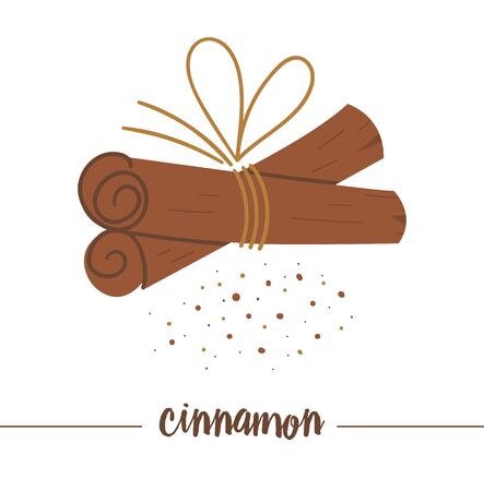 cinnamon sticks tied together isolated on white background. Cute funny illustration of new year symbol. Christmas flat style traditional spice picture for decorations or design.