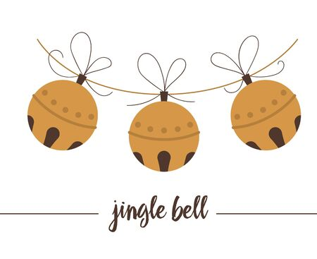 golden jingle bells isolated on white background. Cute funny illustration of new year symbol. Christmas flat style traditional picture for decorations or design. Иллюстрация