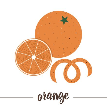 orange with slice and rind isolated on white background. Cute funny illustration of new year symbol. Christmas flat style traditional fruit picture for decorations or design.