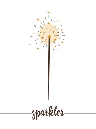 sparkler isolated on white background. Cute funny illustration of new year symbol. Christmas flat style traditional picture for decorations or design.