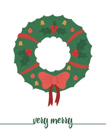 decorated wreath with red bow isolated on white background. Cute funny illustration of new year symbol. Christmas flat style traditional picture for decorations or design. Иллюстрация