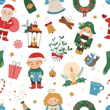 pattern of Christmas elements with Santa Claus, Angel, Nutcracker, Elf. Cute funny repeat background of new year symbols. Christmas flat style picture for decorations or design. Иллюстрация