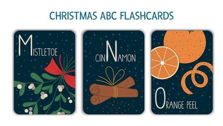 Colorful alphabet letters M, N, O. Phonics flashcard. Cute Christmas themed ABC cards for teaching reading with funny mistletoe, cinnamon, orange peel. New Year festive activity. Иллюстрация