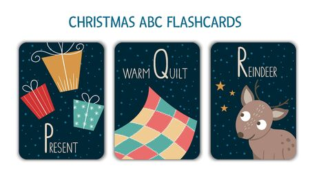 Colorful alphabet letters P, Q, R. Phonics flashcard. Cute Christmas themed ABC cards for teaching reading with funny presents, warm quilt, reindeer. New Year festive activity.