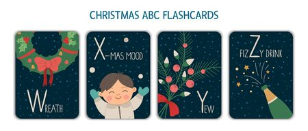Colorful alphabet letters W, X, Y, Z. Phonics flashcard. Cute Christmas themed ABC cards for teaching reading with funny boy, wreath, champagne, yew. New Year festive activity. Иллюстрация