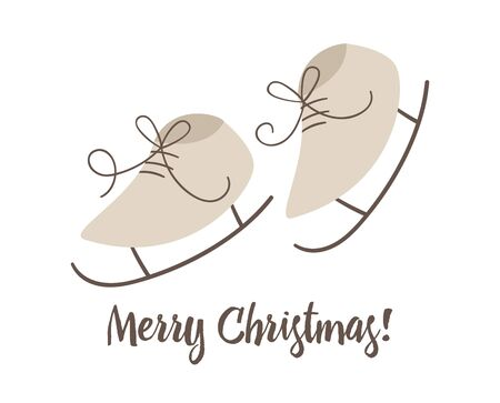 skates isolated on white background. Cute funny illustration of winter sport symbol. Christmas or New Year flat style picture for decorations or design.