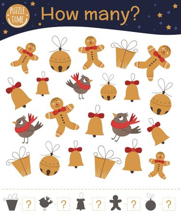 Christmas counting game with gingerbread man, bell, present, bird. Winter math activity for preschool children. How many objects worksheet. Educational riddle with cute funny pictures.