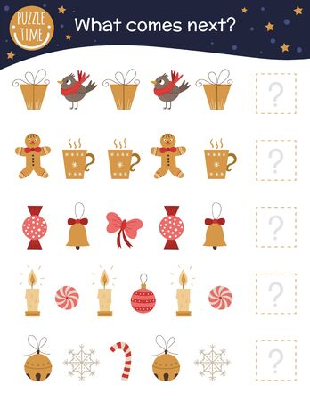 What comes next. Christmas matching activity for preschool children with cute characters. Funny winter game for kids. Logical quiz worksheet. Continue the row.
