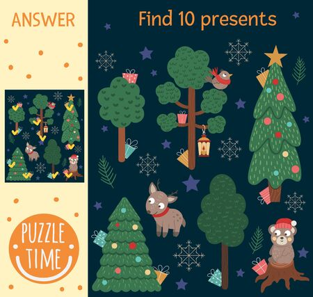 Christmas searching game for children with winter forest, trees, animals. Cute funny smiling characters. Find hidden presents.