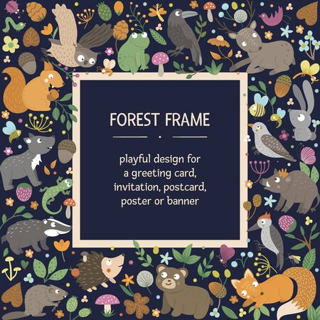 Vector square layout frame with animals and forest elements on black background. Natural themed banner. Cute funny woodland card template.  Çizim