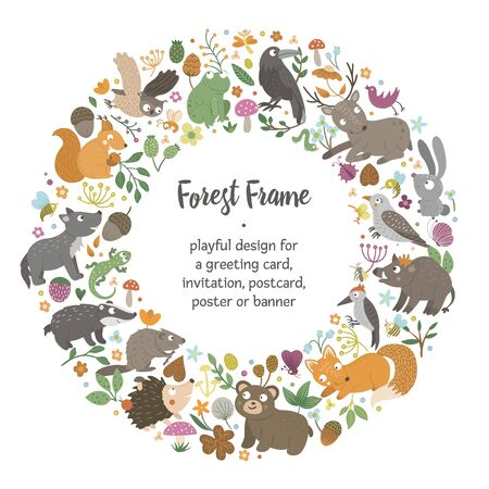 Vector round frame with animals and forest elements on black background. Natural themed banner. Cute funny woodland card template.  Çizim