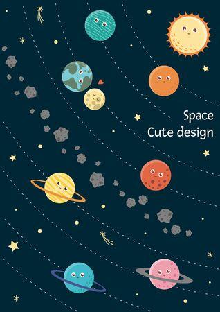 Vector solar system card for children. Bright and cute flat illustration of smiling earth, sun, moon,  Venus,  mars,  Jupiter,  mercury,  Saturn,  Neptune on dark blue background.