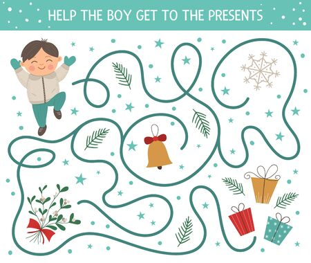 Winter maze for children. Preschool Christmas activity. New Year puzzle game with boy, presents, bell, mistletoe, snowflake. Help the boy get to the presents.  Illustration