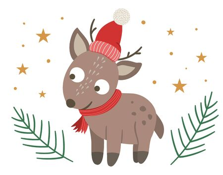 cute little deer in red hat and scarf with fir tree twigs and stars isolated on white background. Cute winter animal illustration. Funny Christmas character