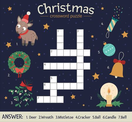 Vector Christmas crossword puzzle. Bright and colorful winter quiz for children. Educational New Year activity with deer, wreath, mistletoe, ball, candle, bell, cracker.