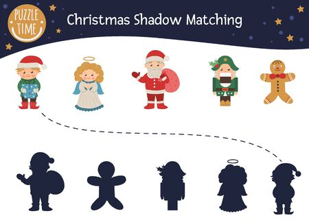 Christmas shadow matching activity for children with characters. Cute funny smiling Santa Claus, angel, elf, nutcracker, gingerbread man. Find the correct silhouette winter game.