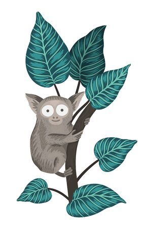 Vector tarsier on a tree with leaves isolated on white background. Tropical animal illustration. Hand drawn exotic cute little monkey. Bright realistic watercolor style picture.