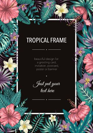 Vector frame template with tropical green leaves and purple flowers on black background. Vertical layout card with place for text. Spring or summer design for invitation, wedding, party, promo events.