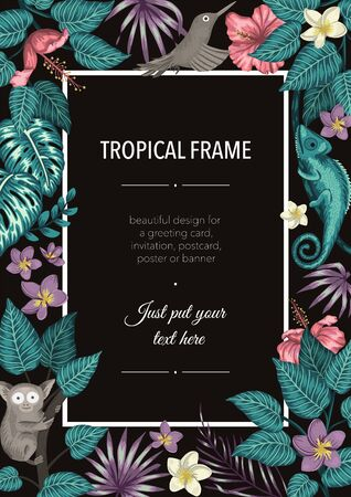 Vector frame template with tropical green leaves, flowers, bird, animals on black background. Vertical layout card with place for text. Spring or summer design for invitation, wedding, party