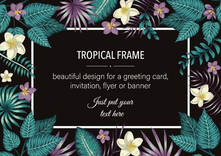 Vector frame template with tropical white and purple leaves and flowers on black background. Horizontal layout card with place for text. Spring or summer design for invitation, wedding, party, promo events.