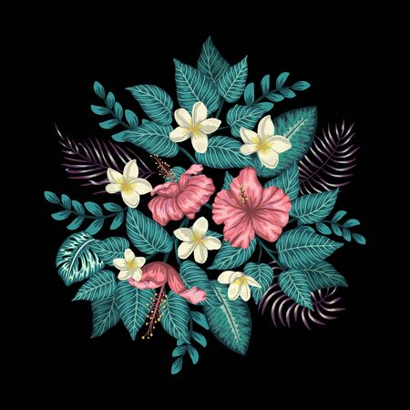 Vector tropical composition of pink hibiscus, white plumeria, monstera and palm leaves isolated on black background. Bright realistic watercolor style exotic design elements.