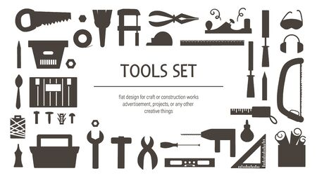 Vector tools silhouettes set. Flat black and white illustration with building, carpenter equipment for card, poster or flyer design. Woodwork, repair service or craft workshop concept  Иллюстрация