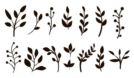 Vector greenery silhouettes clip art set. Flat trendy illustration with leaves, branches, berries. Meadow, woodland, forest, garden black elements isolated on white background.
