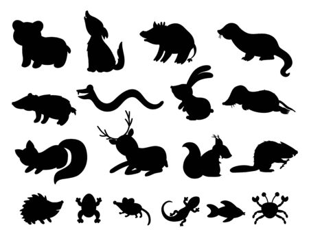 Set of vector hand drawn flat woodland animals silhouettes. Funny animalistic collection. Cute black and white forest illustration for children's design, print, stationery