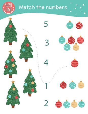 Matching game with Christmas trees and balls. Holiday math activity for preschool children. New Year counting worksheet. Educational riddle with cute funny elements.  Иллюстрация