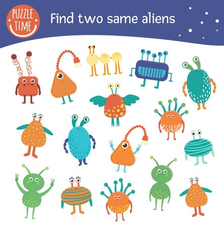Find two same aliens. Space matching activity for preschool children. Funny cosmic game for kids. Logical quiz worksheet.