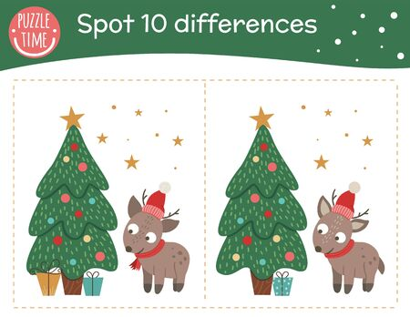 Christmas find differences game for children. Holyday festive preschool activity with little deer and fir tree. New Year puzzle with animal. Cute funny smiling characters.