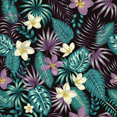 Vector seamless pattern of emerald green tropical leaves with white and purple plumeria flowers on black background. Summer or spring repeat tropical backdrop. Exotic jungle ornament.