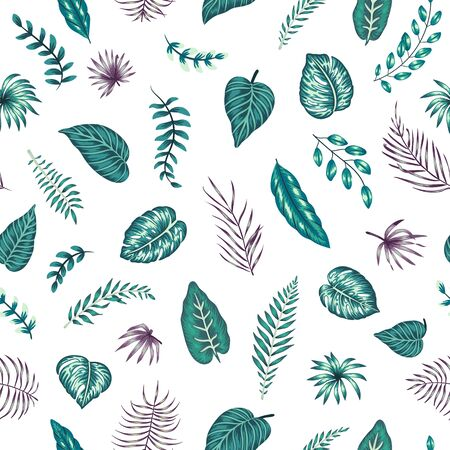Vector seamless pattern with green and purple tropical leaves on white background. Summer repeat exotic backdrop. Jungle ornament.