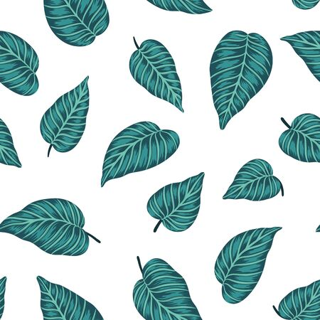 Vector seamless pattern with green tropical leaves on white background. Summer repeat exotic backdrop. Jungle ornament.