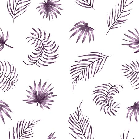 Vector seamless pattern with purple palm tree leaves on white background. Summer tropical repeat exotic backdrop. Jungle ornament.  イラスト・ベクター素材