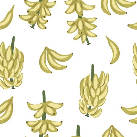 Vector tropical banana fruit, bunch and twig seamless pattern. Jungle foliage repeat background. Hand drawn exotic plant texture.