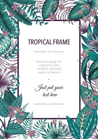 Vector frame template with tropical white and purple leaves and flowers on white background. Vertical layout card with place for text. Spring or summer design for invitation, wedding, party