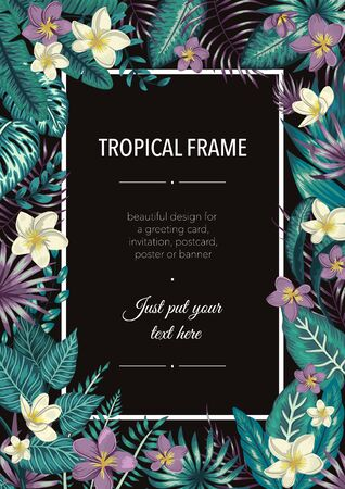 Vector frame template with tropical white and purple leaves and flowers on black background. Vertical layout card with place for text. Spring or summer design for invitation, wedding, party