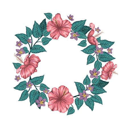 Vector wreath of green tropical leaves with plumeria and hibiscus flowers framed in circle on white background. Summer or spring tropical background. Exotic jungle design.