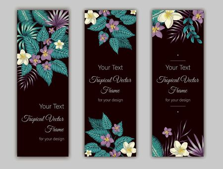 Vector bookmarks with green tropical leaves, plumeria and hibiscus flowers on black background. Summer or spring tropical vertical templates. Trendy exotic jungle design.