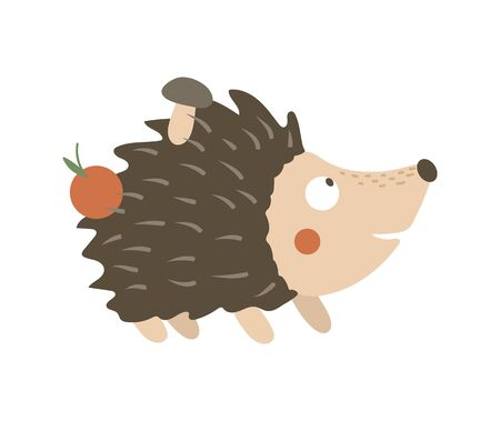 Vector hand drawn flat hedgehog carrying apple and mushroom on its prickles. Funny autumn scene with prickly animal. Cute woodland animalistic illustration for children's design, print, stationery